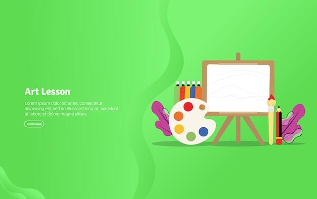 Concept De Leçon D'art Bannière Illustration éducative Vecteur Premium
