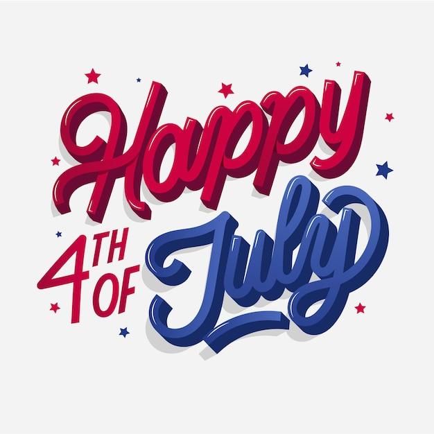 Concept De Lettrage Pour Le Jour De L'indépendance Des états-unis Vecteur gratuit