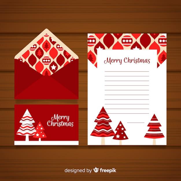 Concept de lettre et enveloppe de noël dans un style plat Vecteur gratuit