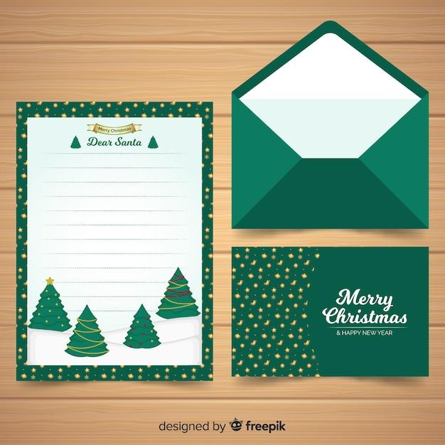 Concept de lettre et enveloppe de noël Vecteur gratuit