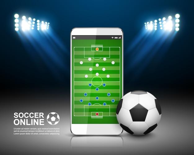 Concept En Ligne De Football Vecteur Premium