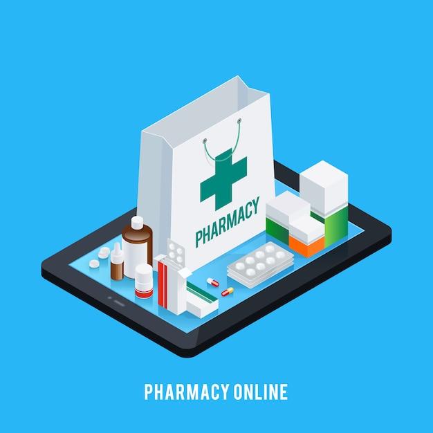 Concept en ligne de pharmacie de comprimé Vecteur gratuit