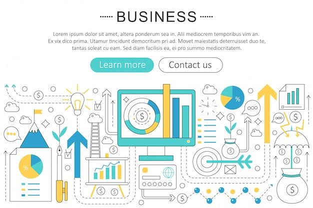 Concept de ligne plate de finance entreprise Vecteur Premium