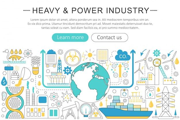 Concept De Ligne Plate Pour L'industrie Lourde Et électrique Vecteur Premium