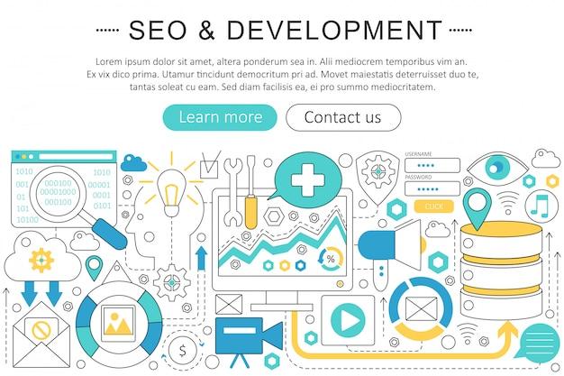 Concept de ligne plate seo et développement Vecteur Premium