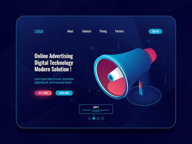 Concept en ligne de publicité intelligente, icône isométrique haut-parleur mégaphone, promotion des médias sociaux sombre Vecteur gratuit
