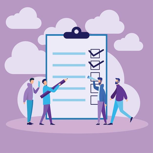 Concept de liste de contrôle et de liste de tâches Vecteur Premium