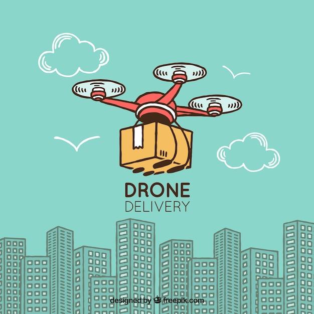Concept de livraison avec drone dessiné à la main Vecteur gratuit