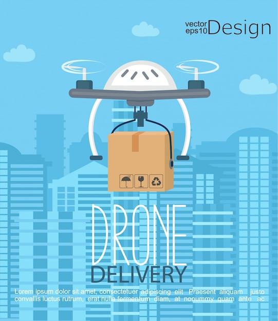 Concept de la livraison par le drone. Vecteur Premium
