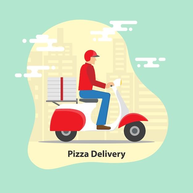 Concept de livraison de pizza. Vecteur Premium