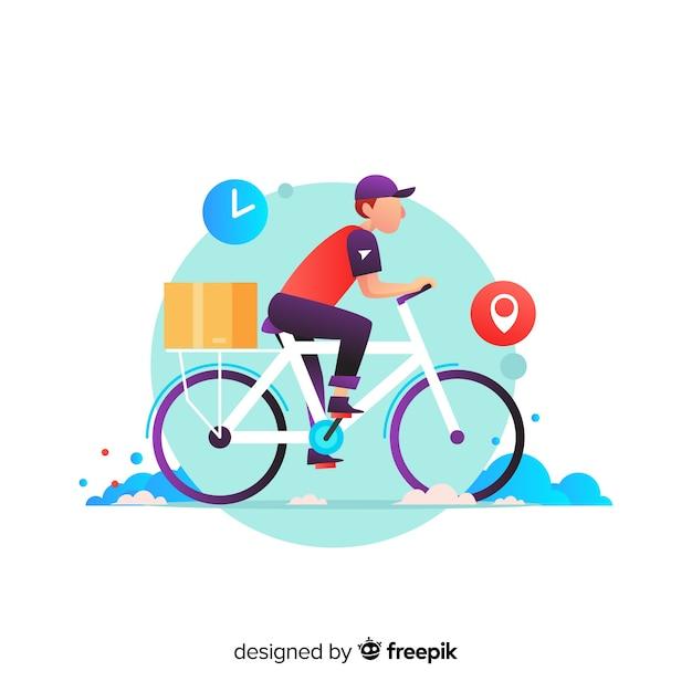 Concept de livraison de vélos avec forfaits Vecteur gratuit
