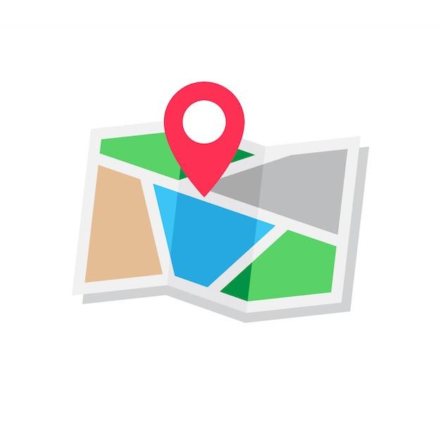 Concept de localisation, style de design plat carte icône Vecteur Premium