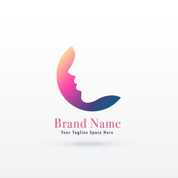 Concept de logo du féminisme avec un visage de fille ou de femme Vecteur gratuit