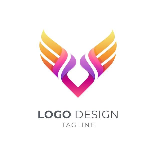Concept De Logo D'entreprise Lettre V Aile Vecteur Premium