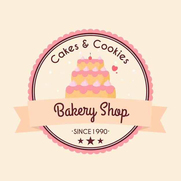 Concept De Logo De Gâteau De Boulangerie Vecteur Premium