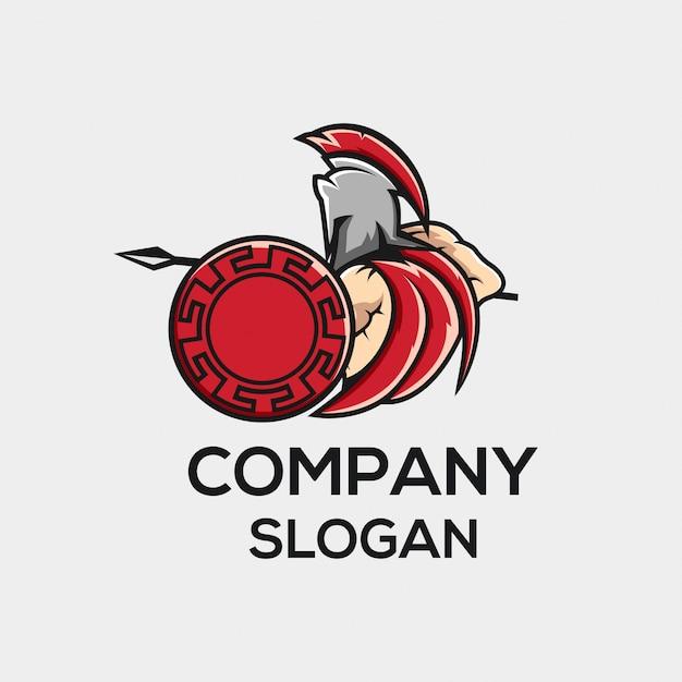 Concept de logo de guerrier angry fighting Vecteur Premium