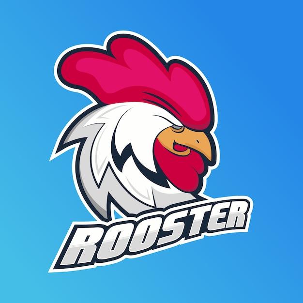 Concept De Logo De Mascotte Avec Coq Vecteur Premium