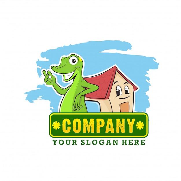 Concept de logo mascotte gecko pour l'immobilier Vecteur Premium