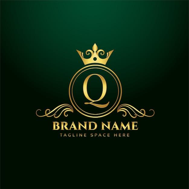 Concept De Logo Ornemental Lettre Q Avec Couronne D'or Vecteur gratuit