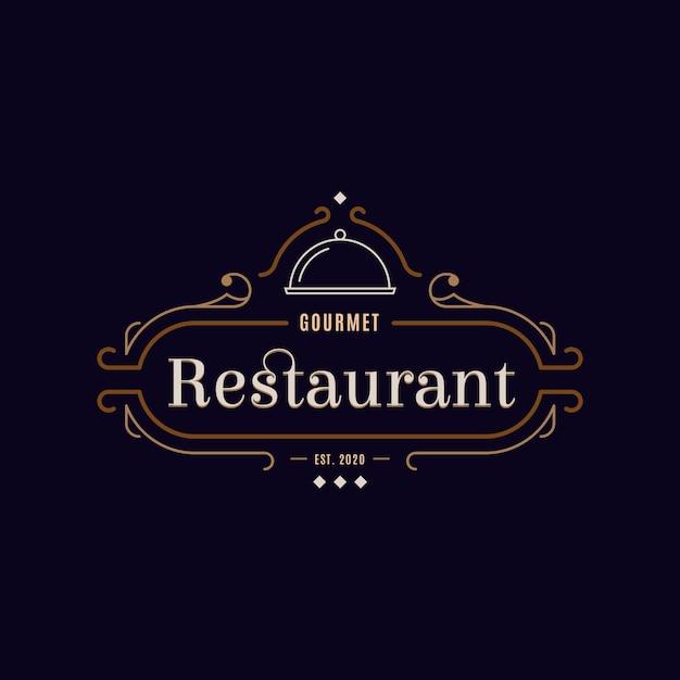 Concept De Logo De Restaurant Rétro Vecteur Premium