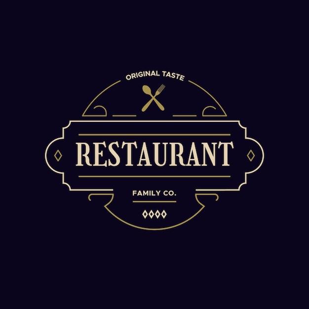Concept De Logo De Restaurant Rétro Vecteur gratuit