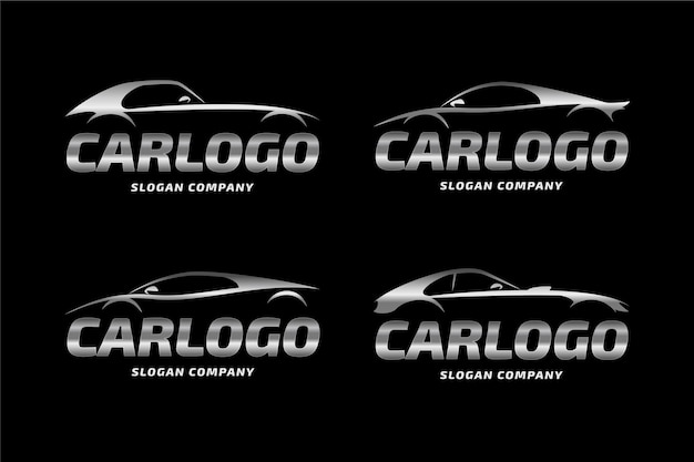 Concept De Logo De Voiture Métallique Réaliste Vecteur Premium