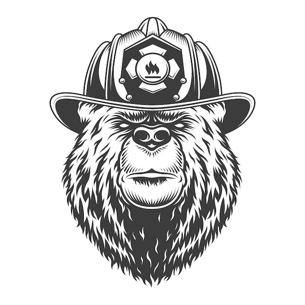 Concept De Lutte Contre L'incendie Monochrome Vintage Vecteur gratuit