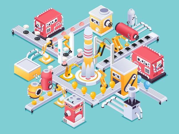 Concept De Machine Isométrique Dans La Fabrication Artisanale De Style Steampunk Sur Turquoise Vecteur gratuit