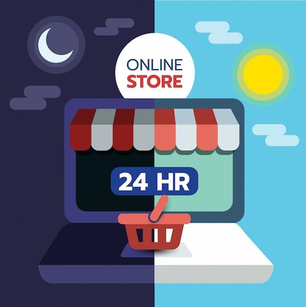Concept de magasinage en ligne sur écran d'ordinateur, ouvert 24 heures sur 24, commerce électronique. Vecteur Premium