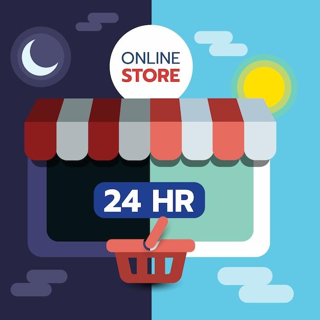 Concept de magasinage en ligne sur écran de tablette, ouvert 24 heures sur 24, commerce électronique. Vecteur Premium