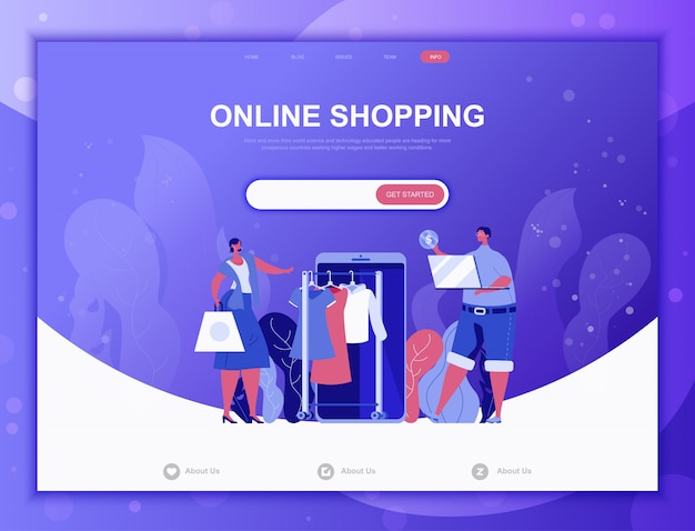 Concept de magasinage en ligne, modèle web de page de destination Vecteur Premium