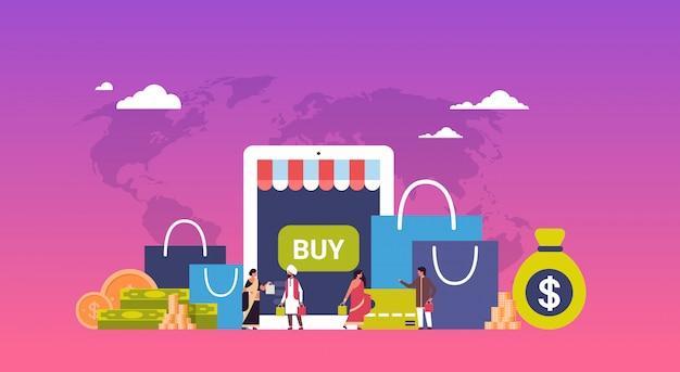 Concept de magasinage en ligne sur papier paquets argent bannière dollar Vecteur Premium