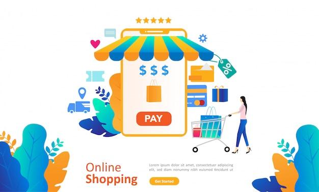 Concept de magasinage en ligne avec personnage personnage pour la page de renvoi web Vecteur Premium