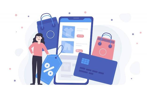 Concept de magasinage en ligne pour la page de destination Vecteur gratuit