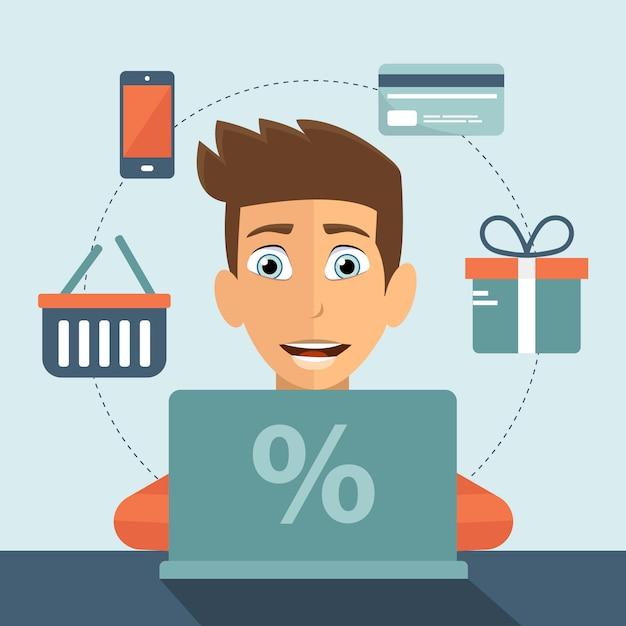 Concept de magasinage en ligne Vecteur Premium