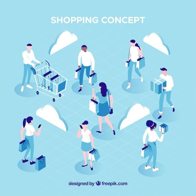 Concept de magasinage avec des personnes en vue isométrique Vecteur gratuit