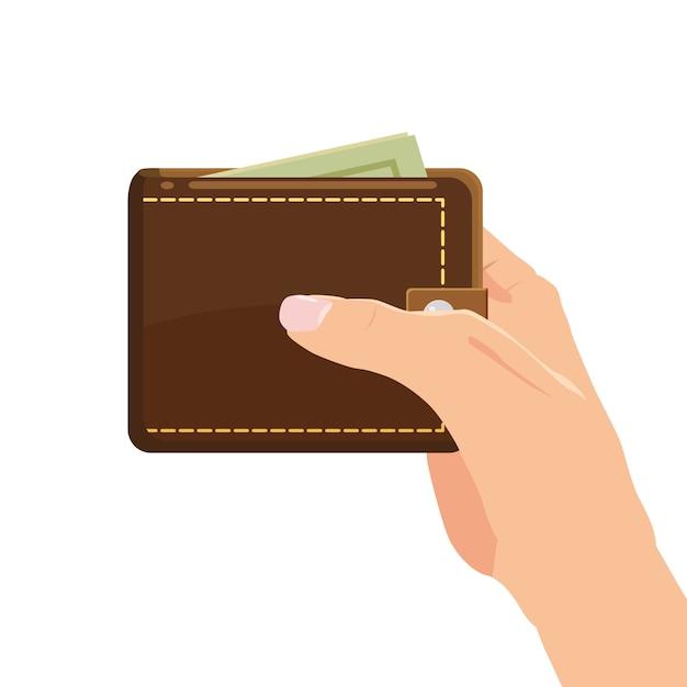 Concept avec la main et un portefeuille plein d'argent. shopping en ligne. payer avec un clic. gagner de l'argent. isolé. illustration vectorielle style de bande dessinée Vecteur Premium
