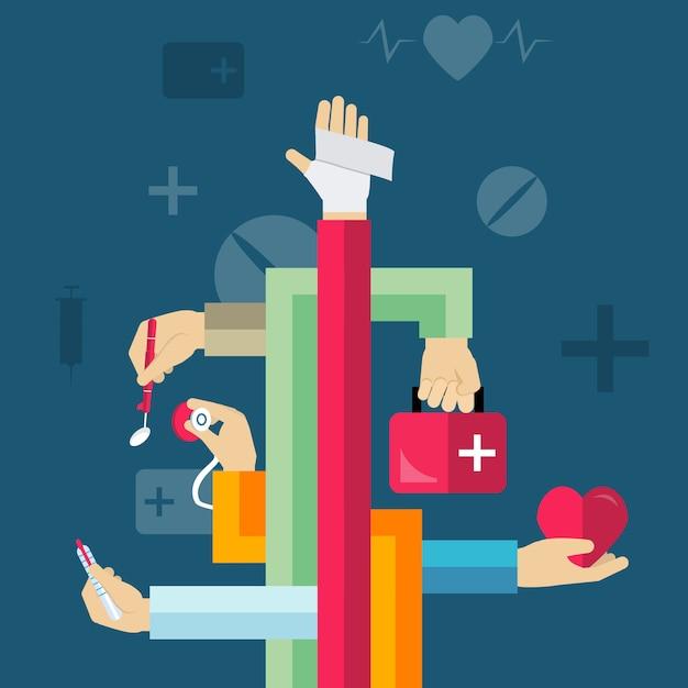 Concept de mains médicales Vecteur gratuit