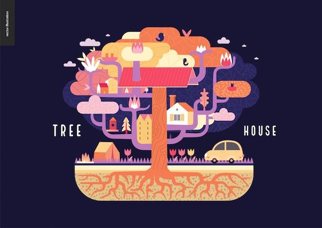 Concept de maison dans l'arbre Vecteur Premium
