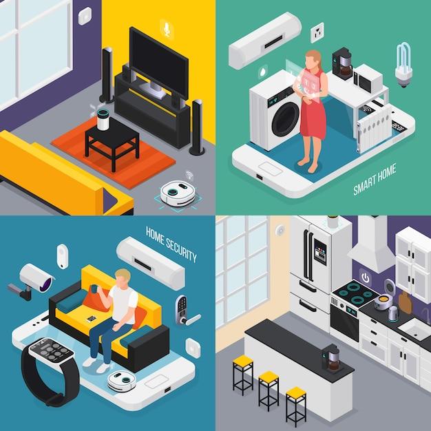 Concept De Maison Intelligente 4 Compositions Isométriques Avec Cuisine Salle De Bain Tv Iot Smartphone Smartwatch Contrôlés Illustration Des Appareils Vecteur gratuit