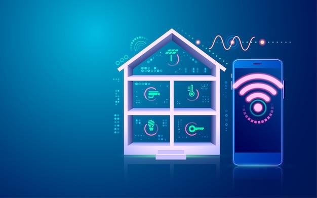 Concept De Maison Intelligente Ou Internet Des Objets (iot), Graphique De L'interface De La Technologie Domestique Vecteur Premium