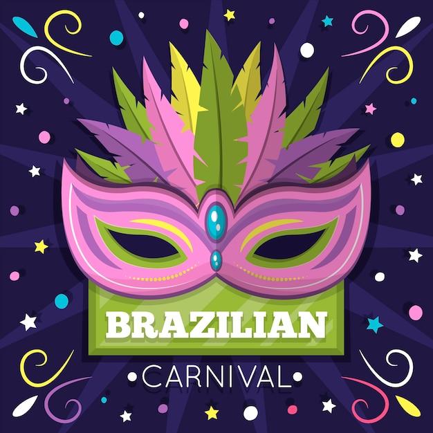 Concept De Maks Pour Le Thème Du Carnaval Brésilien Avec Vecteur gratuit