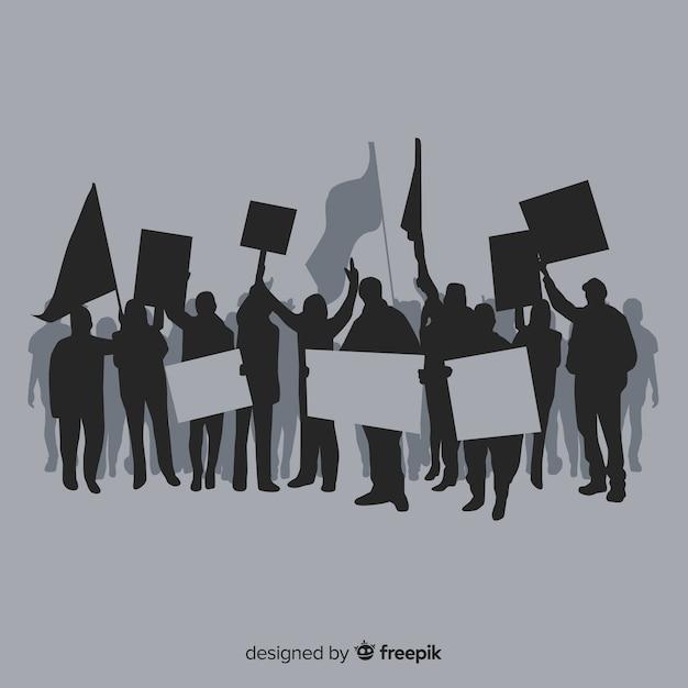 Concept de manifestation moderne avec des silhouettes Vecteur gratuit