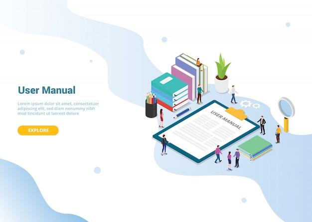 Concept de manuel utilisateur pour la conception de modèles de sites web ou la page d'accueil d'atterrissage Vecteur Premium