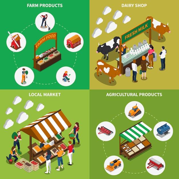 Concept de marché agricole Vecteur gratuit
