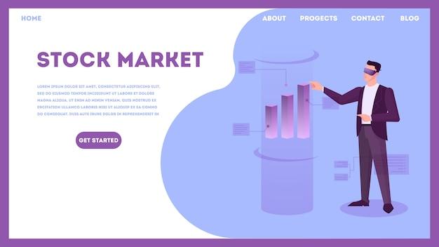 Concept De Marché Boursier. Idée D'investissement Financier Vecteur Premium