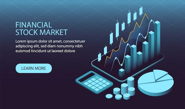 Concept de marché financier isométrique Vecteur Premium