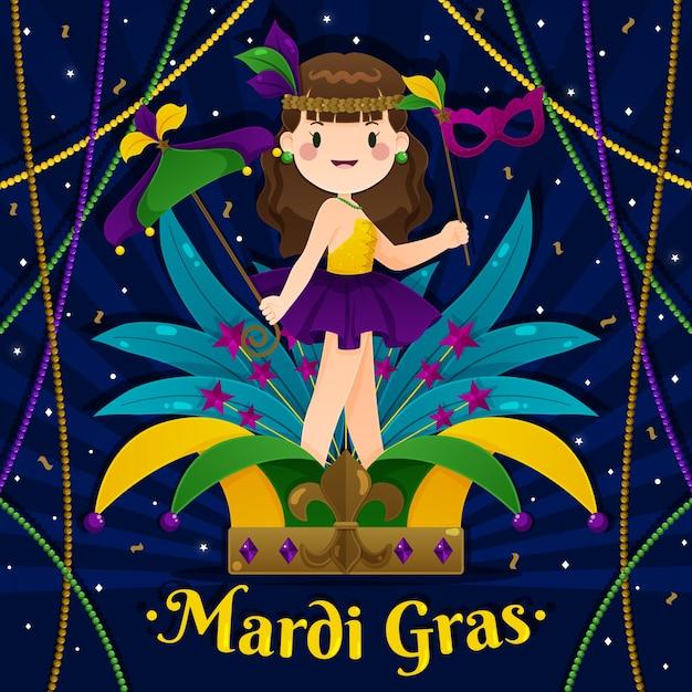 Concept De Mardi Gras Design Plat Vecteur gratuit