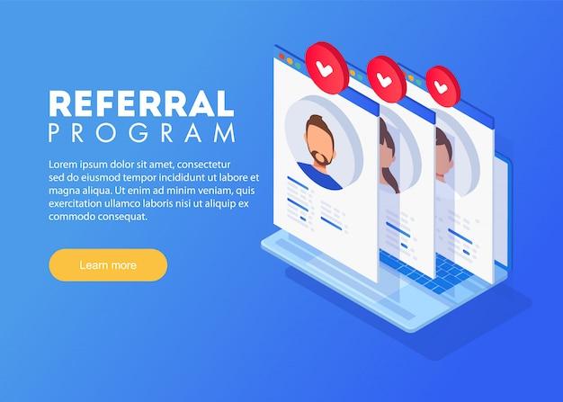 Concept de marketing du programme de référence isométrique, stratégie du programme de référence, parrainer des amis, marketing de réseau Vecteur Premium