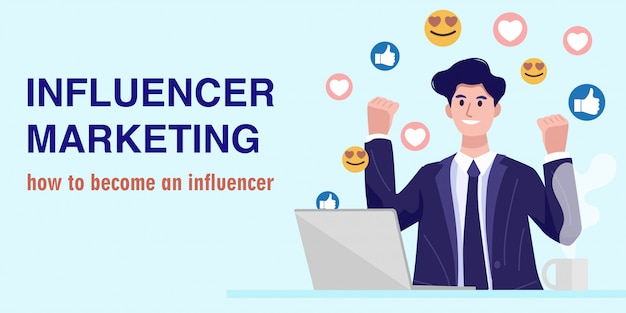Concept De Marketing D'influence, Un Jeune Homme D'affaires Regardant Un Streaming En Direct. Vecteur Vecteur Premium
